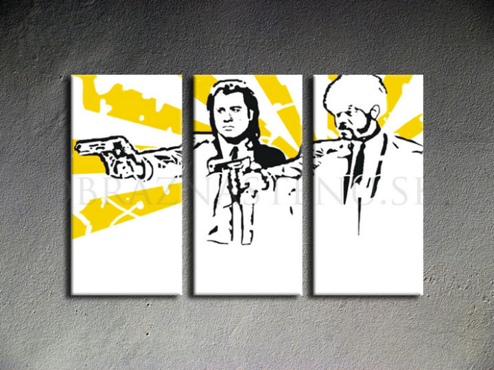 Tablou pictat manual POP Art Pulp fiction 3-piese 120x80cm