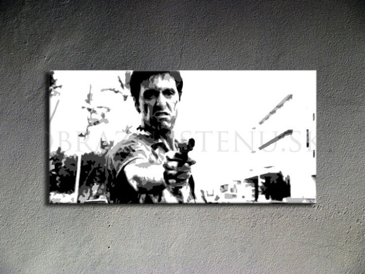 Tablou pictat manual POP Art Scarface 1-piese 100x50cm