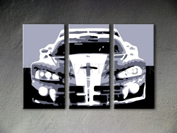 Tablou pictat manual POP Art Dodge Viper GTS 3-piese 120x80cm