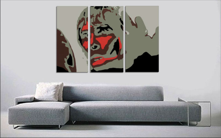 Tablou pictat manual POP Art BROWN APE 3-piese 120x80cm