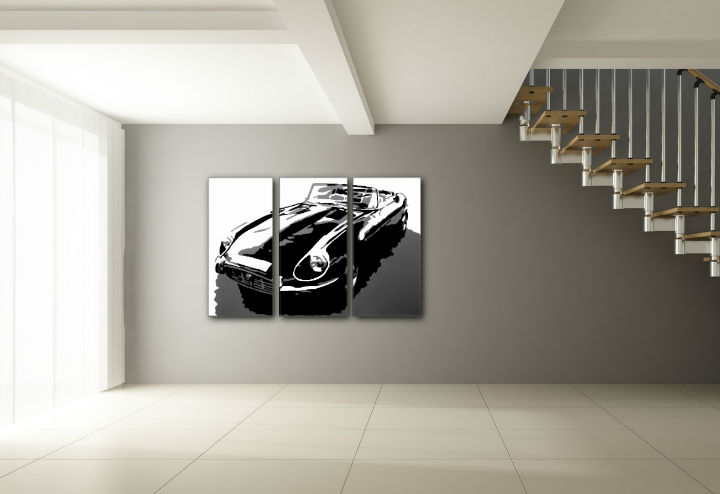 Tablou pictat manual POP Art JAGUAR 3-piese 120x80cm