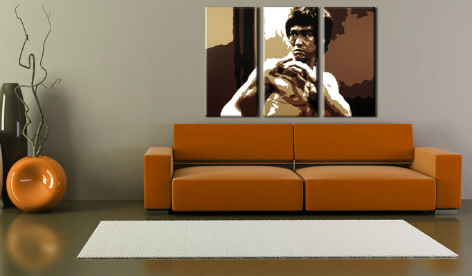 Tablou pictat manual POP Art AL Bruce Lee 3-piese 120x80cm