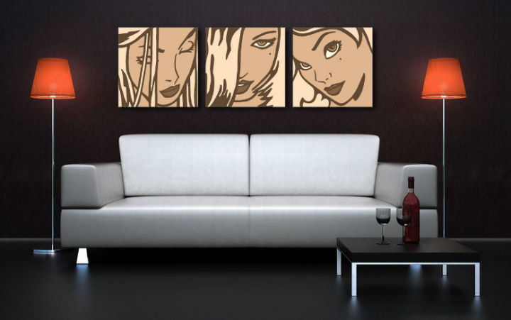 Tablou pictat manual POP Art LICHTENSTEIN 3-piese 150x50cm