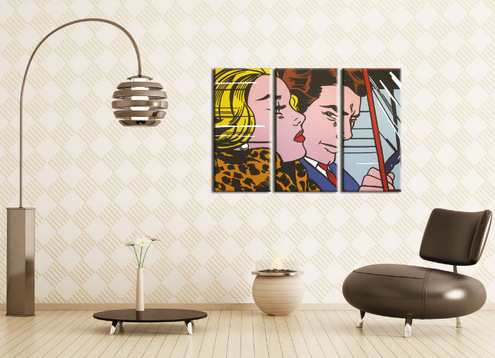 Tablou pictat manual POP Art LICHTENSTEIN 3-piese 120x80cm