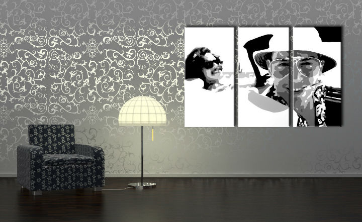 Tablou pictat manual POP Art Fear and Loathing in Las Vegas 3-piese 120x80cm