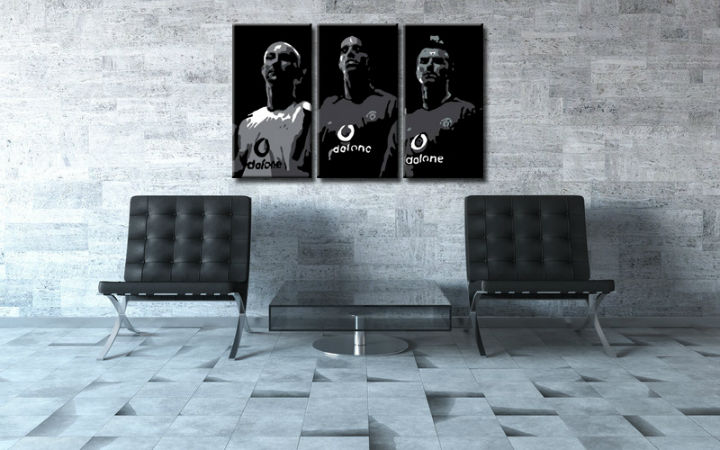Tablou pictat manual POP Art Manchester United 3-piese 120x80cm