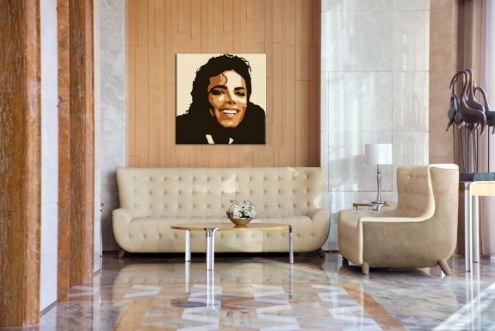 Tablou pictat manual POP ART Michael Jackson 1-piese 100x100cm