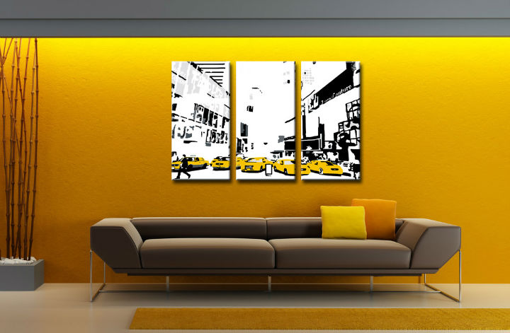 Tablou pictat manual POP Art NEW YORK 3-piese 120x80cm