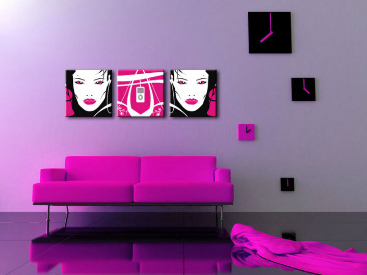 Tablou pictat manual POP Art I-GIRL 3-piese 150x50cm