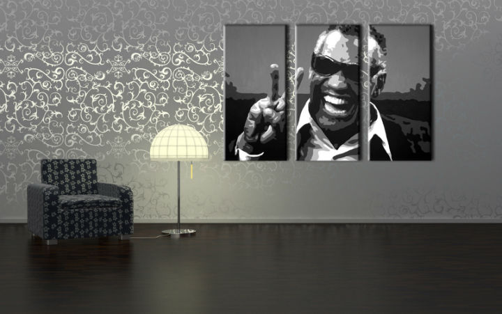 Tablou pictat manual POP Art Ray Charles 3-piese 120x80cm