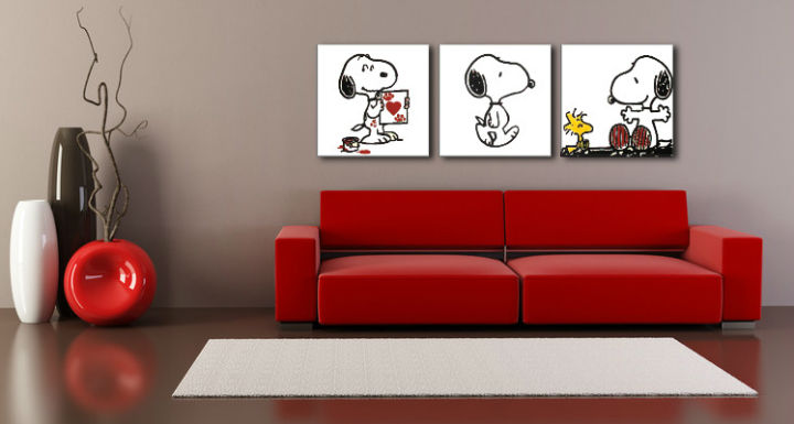Tablou pictat manual POP Art SNOOPY 3-piese 150x50cm