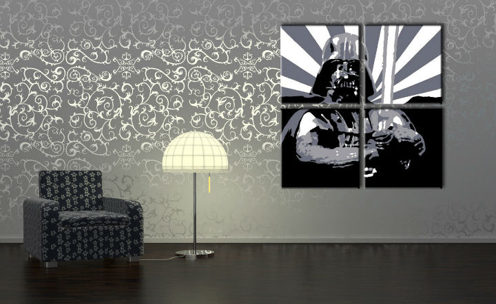 Tablou pictat manual POP Art STAR WARS 4-piese 100x100cm