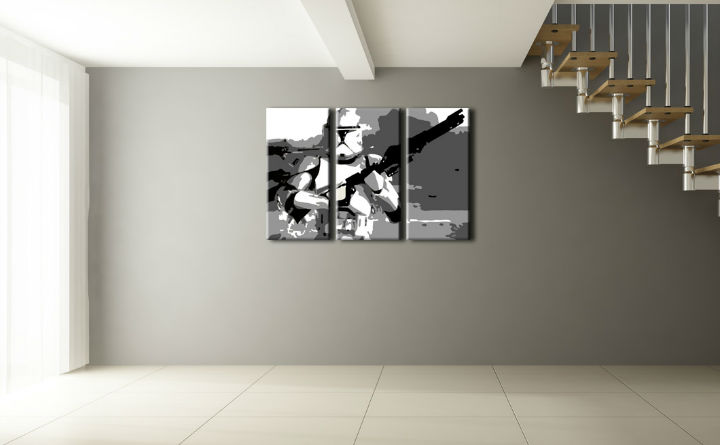 Tablou pictat manual POP Art Star Wars 3-piese 120x80cm