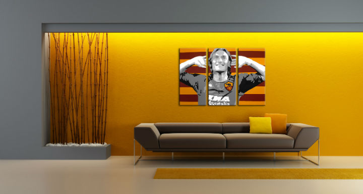 Tablou pictat manual POP Art Francesco Totti 3-piese 120x80cm