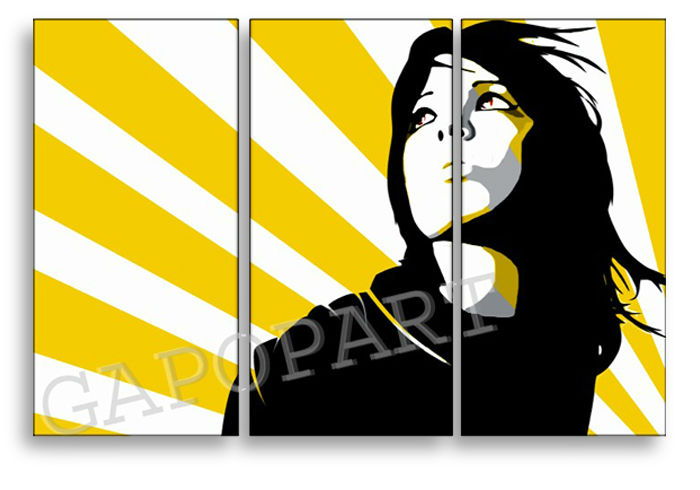 Tablou pictat manual POP Art Woman in SUN 3-piese 120x80cm