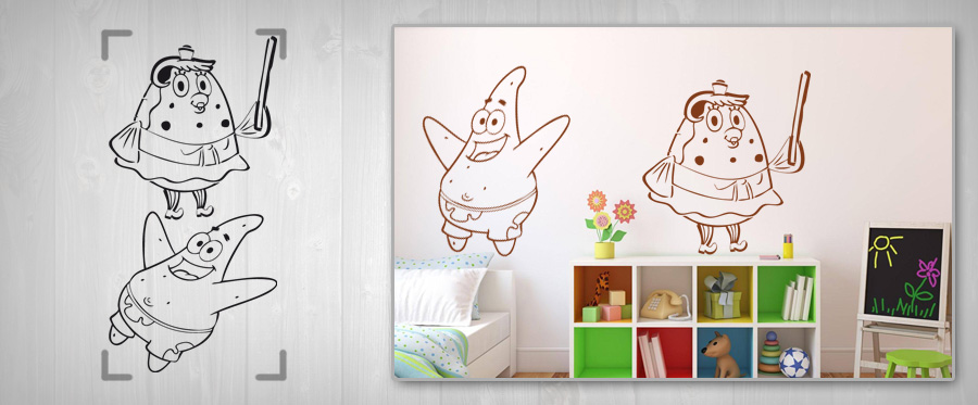 >Black Friday 20%< Stickere de perete pentru COPII – SPONGEBOB 50x100 cm NAD058/24h –turcoaz