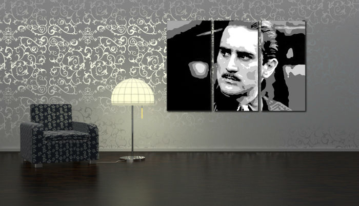>In stoc< Pop Art pictat manual Reducere 25 % Godfather R. De Niro 3 piese 120x80 cm god