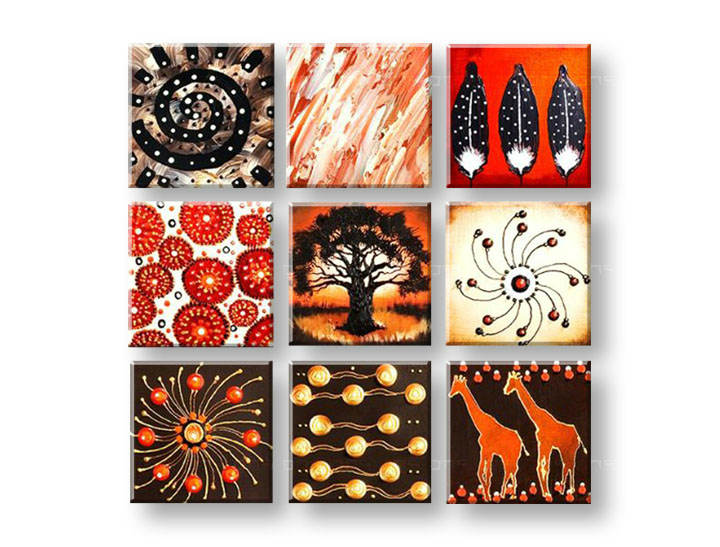 Tablouri pictate manual pe canvas ABSTRACT 9 piese NU0040E9