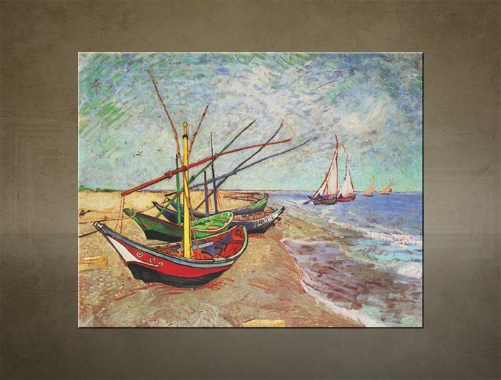 Tablouri FISHING BOATS ON THE BEACH AT SAINTS-MARIES – Vincent van Gogh