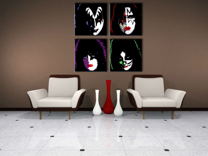 >In stoc< Tablou pictat manual POP Art Reducere 25 % tablou Kiss 4 piese 100x100 cm kiss/24h